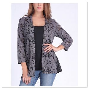 🌸Coming Soon🌸 Grey & Black Roses Open Cardigan